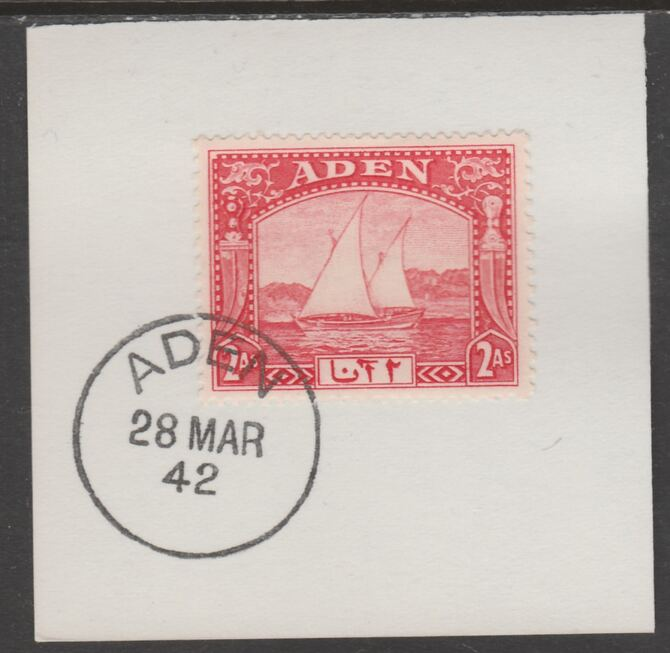 Aden 1937 Dhow 2a scarlet on piece with full strike of Madame Joseph forged postmark type 3, stamps on , stamps on  kg6 , stamps on forgeries, stamps on ships