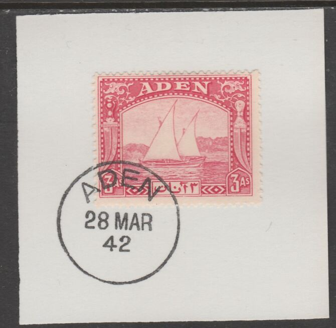 Aden 1937 Dhow 3a carmine on piece with full strike of Madame Joseph forged postmark type 3, stamps on , stamps on  kg6 , stamps on forgeries, stamps on ships