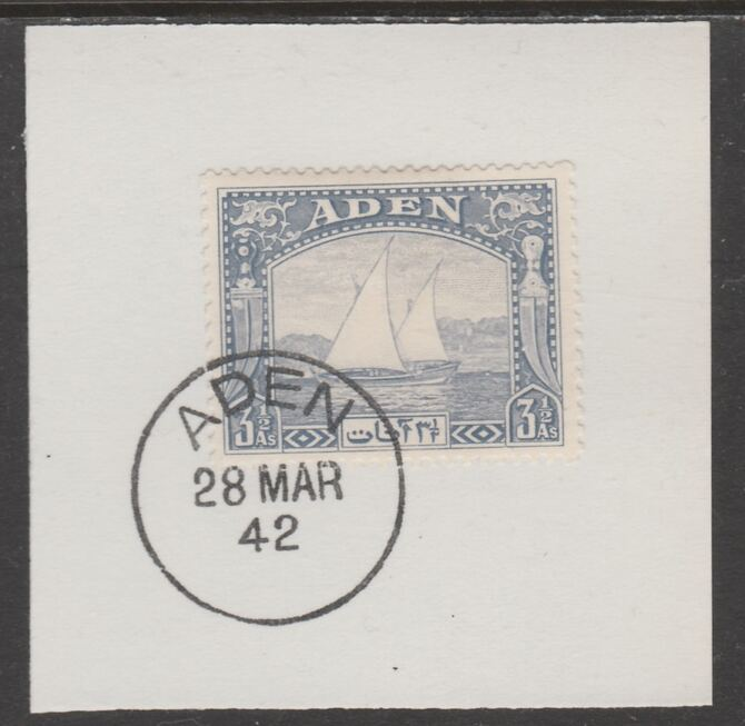 Aden 1937 Dhow 3.5a grey-blue on piece with full strike of Madame Joseph forged postmark type 3, stamps on , stamps on  kg6 , stamps on forgeries, stamps on ships