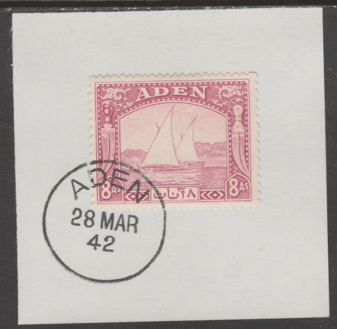 Aden 1937 Dhow 8a pale purple on piece with full strike of Madame Joseph forged postmark type 3, stamps on , stamps on  kg6 , stamps on forgeries, stamps on ships