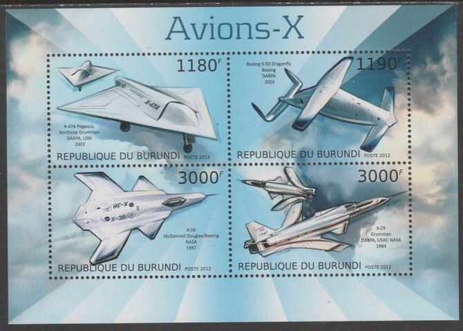 Burundi 2012 Experimental Aircraft perf sheetlet containing 4 values unmounted mint.