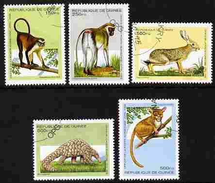 Guinea - Conakry 1995 Animals perf set of 5 fine cto used SG 1635-39