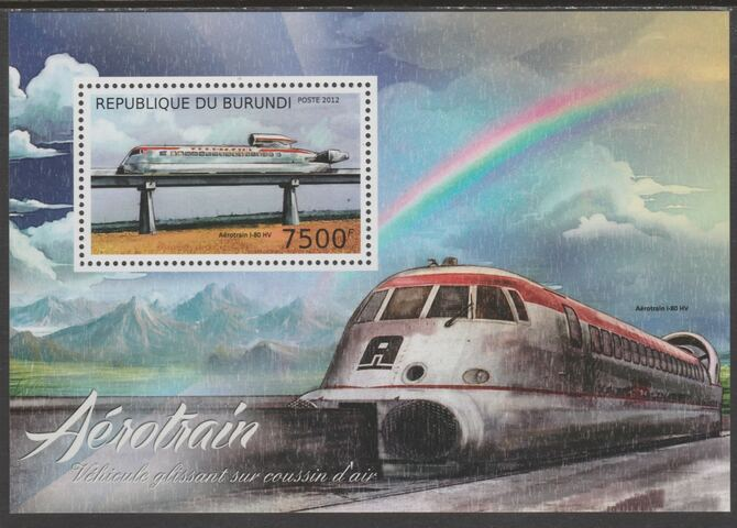 Burundi 2012 Aero Trains perf souvenir sheet containing 1 value unmounted mint., stamps on railways, stamps on transport, stamps on rainbows