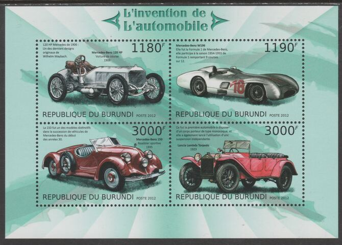 Burundi 2012 Invention of the Automobile perf sheetlet containing 4 values unmounted mint., stamps on , stamps on transport, stamps on cars