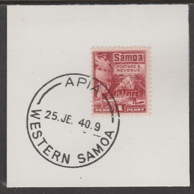 Samoa 1921 Native Hut 1d lake on piece cancelled with full strike of Madame Joseph forged postmark type 376