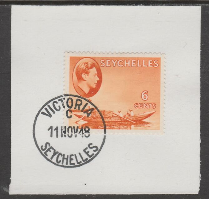 Seychelles 1938 KG6 6c orange on piece cancelled with full strike of Madame Joseph forged postmark type 389, stamps on , stamps on  kg6 , stamps on forgeries, stamps on