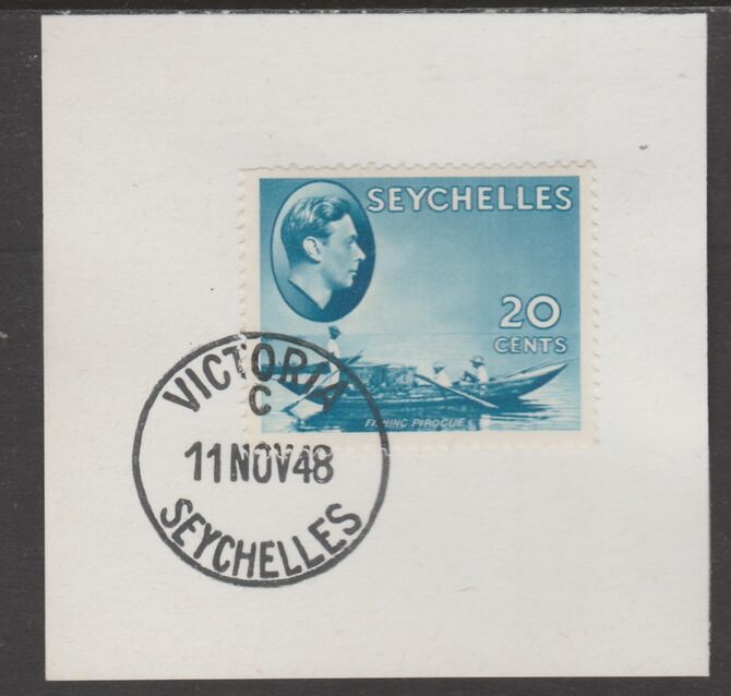 Seychelles 1938 KG6 20c blue on piece cancelled with full strike of Madame Joseph forged postmark type 389, stamps on , stamps on  kg6 , stamps on forgeries, stamps on