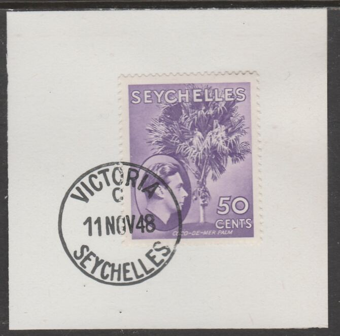 Seychelles 1938 KG6 50c reddish-violet on piece cancelled with full strike of Madame Joseph forged postmark type 389, stamps on , stamps on  kg6 , stamps on forgeries, stamps on