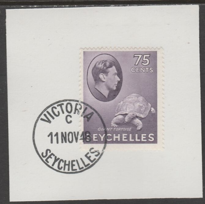 Seychelles 1938 KG6 75c lilac on piece cancelled with full strike of Madame Joseph forged postmark type 389, stamps on , stamps on  kg6 , stamps on forgeries, stamps on