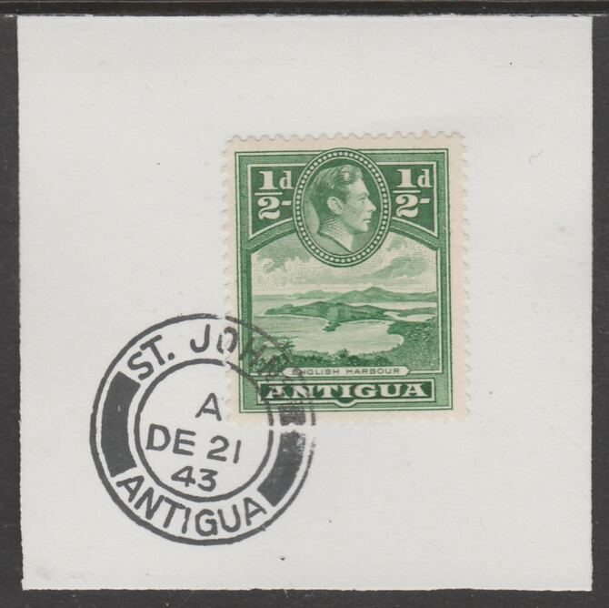 Antigua 1938 KG6 1/2d green on piece with full strike of Madame Joseph forged postmark type 18, stamps on , stamps on  kg6 , stamps on foprgeries