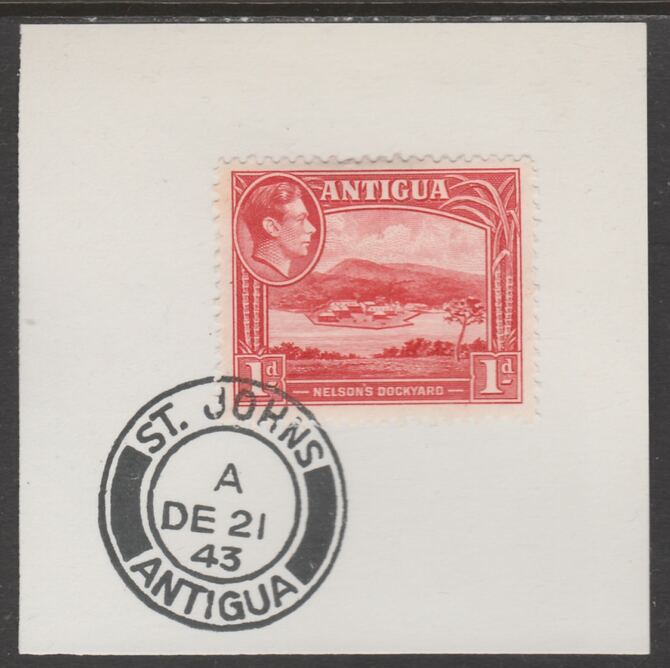 Antigua 1938 KG6 1d scarlet on piece with full strike of Madame Joseph forged postmark type 18, stamps on , stamps on  kg6 , stamps on foprgeries