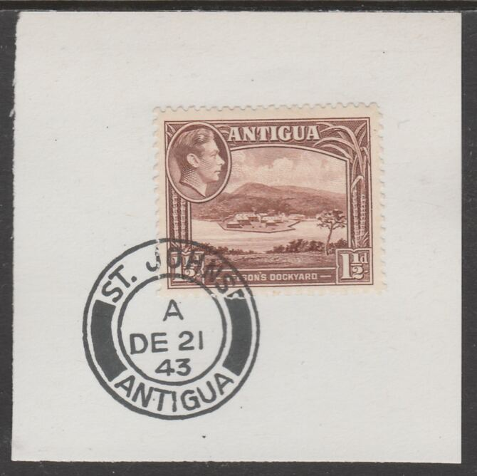 Antigua 1938 KG6 1.5d brown on piece with full strike of Madame Joseph forged postmark type 18, stamps on , stamps on  kg6 , stamps on foprgeries