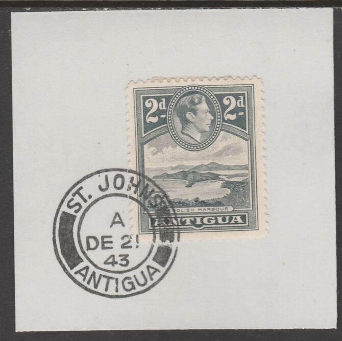 Antigua 1938 KG6 2d grey on piece with full strike of Madame Joseph forged postmark type 18