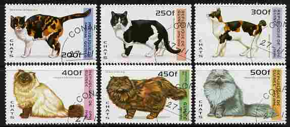 Guinea - Conakry 1996 Domestic Cats perf set of 6 fine cto used