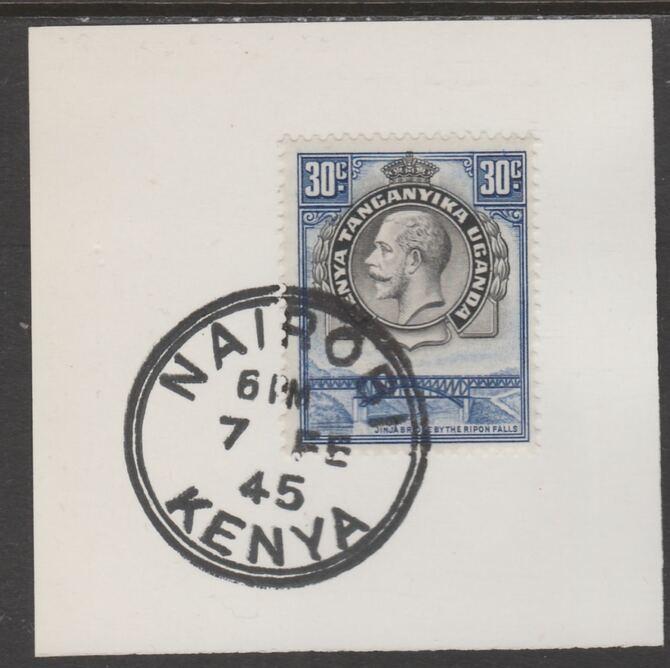 Kenya, Uganda & Tanganyika 1935 KG5 30c black & blue on piece cancelled with full strike of Madame Joseph forged postmark type 226