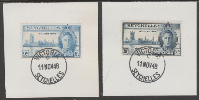 Seychelles 1946 KG6 Victory set of 2 each on individual piece cancelled with full strike of Madame Joseph forged postmark type 158, stamps on , stamps on  kg6 , stamps on forgeries, stamps on  ww2 , stamps on london