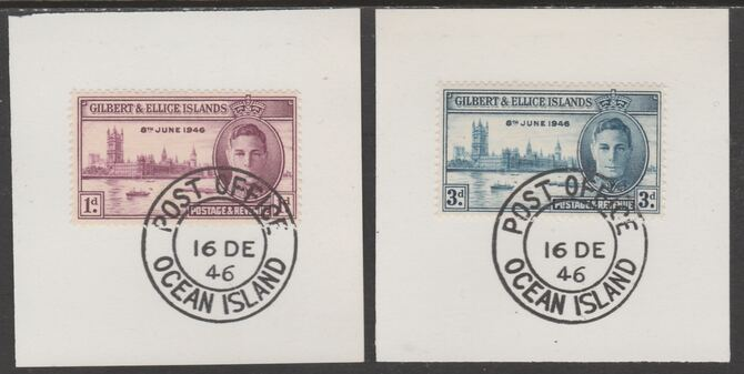 Gilbert & Ellice Islands 1946 KG6 Victory set of 2 each on individual piece cancelled with full strike of Madame Joseph forged postmark type 158, stamps on , stamps on  kg6 , stamps on forgeries, stamps on  ww2 , stamps on london