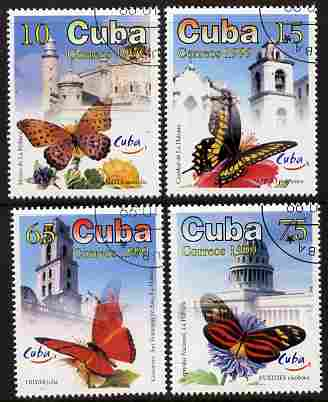 Cuba 1999 World Tourism Day - Butterflies & Views of Havana perf set of 4 fine cto used SG 4370-73