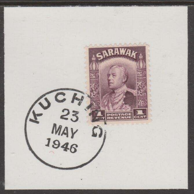 Sarawak 1934 Sir Charles Brooke 1c purple on piece cancelled with full strike of Madame Joseph forged postmark type 378, stamps on , stamps on  kg5 , stamps on forgeries