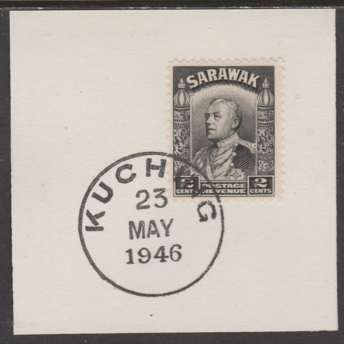 Sarawak 1934 Sir Charles Brooke 2c black on piece cancelled with full strike of Madame Joseph forged postmark type 378, stamps on , stamps on  kg5 , stamps on forgeries