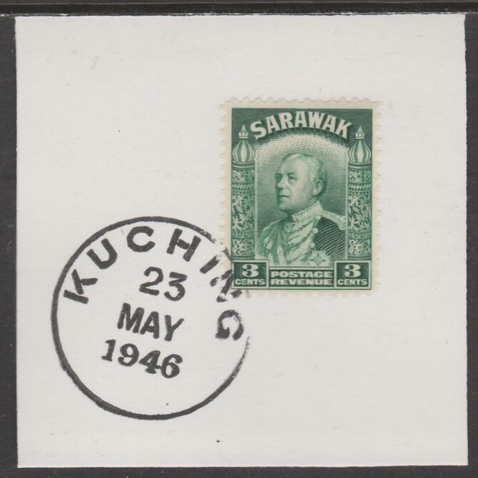 Sarawak 1934 Sir Charles Brooke 3c green on piece cancelled with full strike of Madame Joseph forged postmark type 378, stamps on , stamps on  kg5 , stamps on forgeries
