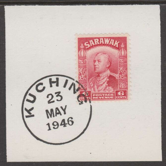 Sarawak 1934 Sir Charles Brooke 6c carmine on piece cancelled with full strike of Madame Joseph forged postmark type 378, stamps on , stamps on  kg5 , stamps on forgeries