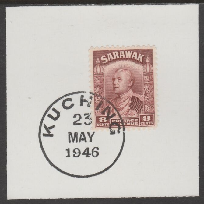 Sarawak 1934 Sir Charles Brooke 8c red-brown on piece cancelled with full strike of Madame Joseph forged postmark type 378, stamps on , stamps on  kg5 , stamps on forgeries