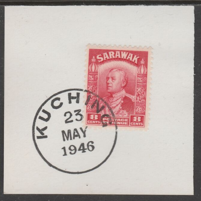 Sarawak 1934 Sir Charles Brooke 8c carmine on piece cancelled with full strike of Madame Joseph forged postmark type 378, stamps on , stamps on  kg5 , stamps on forgeries