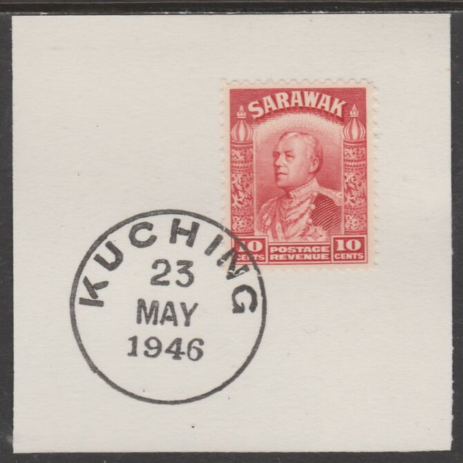 Sarawak 1934 Sir Charles Brooke 10c scarlet on piece cancelled with full strike of Madame Joseph forged postmark type 378, stamps on , stamps on  kg5 , stamps on forgeries