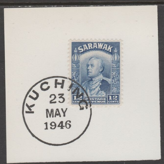 Sarawak 1934 Sir Charles Brooke 12c blue on piece cancelled with full strike of Madame Joseph forged postmark type 378, stamps on , stamps on  kg5 , stamps on forgeries