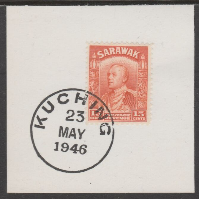 Sarawak 1934 Sir Charles Brooke 15c orange on piece cancelled with full strike of Madame Joseph forged postmark type 378, stamps on , stamps on  kg5 , stamps on forgeries