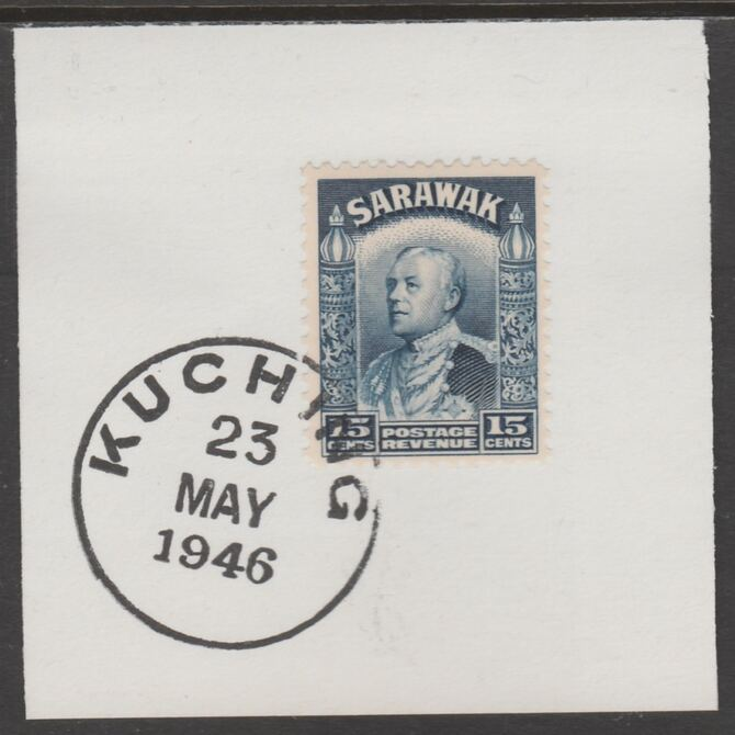Sarawak 1934 Sir Charles Brooke 15c blue on piece cancelled with full strike of Madame Joseph forged postmark type 378, stamps on , stamps on  kg5 , stamps on forgeries