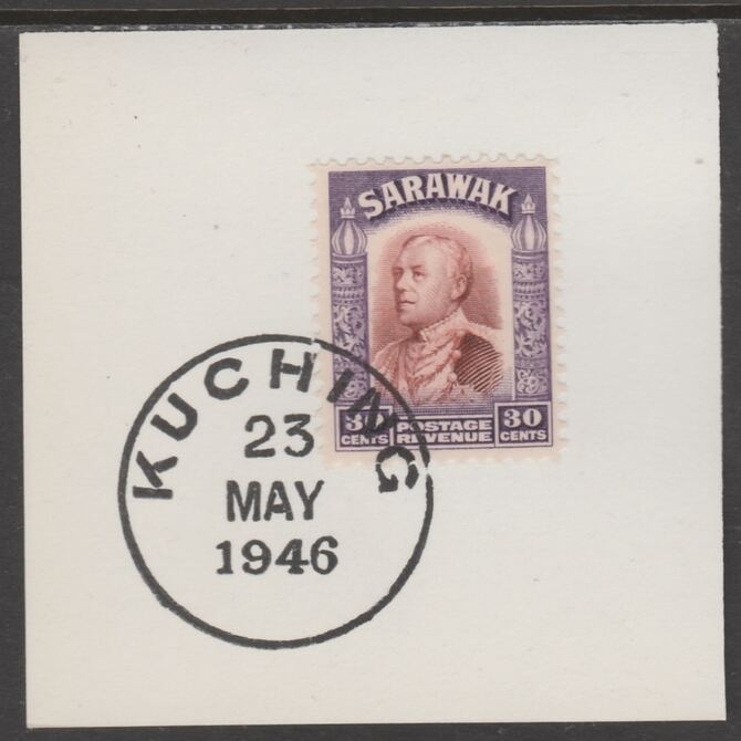 Sarawak 1934 Sir Charles Brooke 30c red-brown & violet on piece cancelled with full strike of Madame Joseph forged postmark type 378, stamps on , stamps on  kg5 , stamps on forgeries