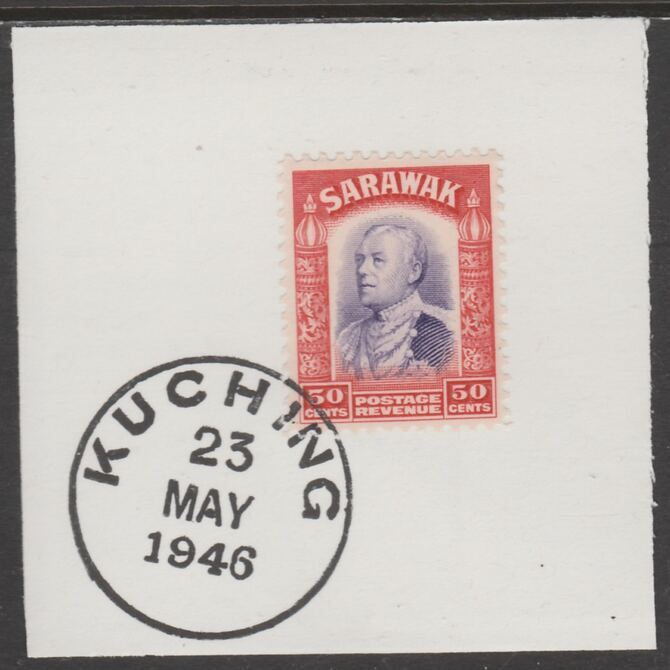 Sarawak 1934 Sir Charles Brooke 50c violet & scarlet on piece cancelled with full strike of Madame Joseph forged postmark type 378, stamps on , stamps on  kg5 , stamps on forgeries