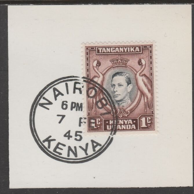 Kenya, Uganda & Tanganyika 1938 KG6 1c black & red-brown on piece cancelled with full strike of Madame Joseph forged postmark type 226, stamps on , stamps on  kg6 , stamps on forgeries