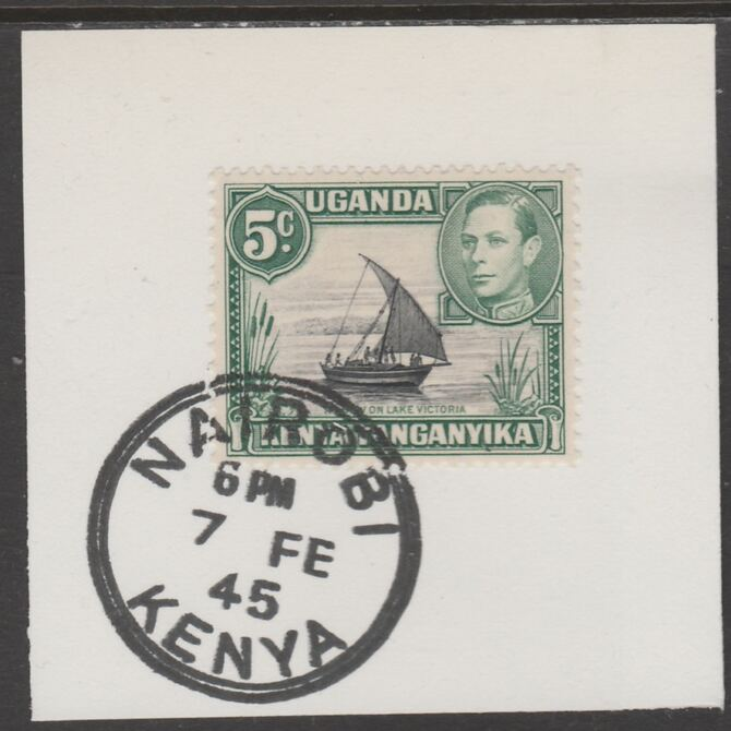 Kenya, Uganda & Tanganyika 1938 KG6 5c black & green on piece cancelled with full strike of Madame Joseph forged postmark type 226, stamps on , stamps on  kg6 , stamps on forgeries