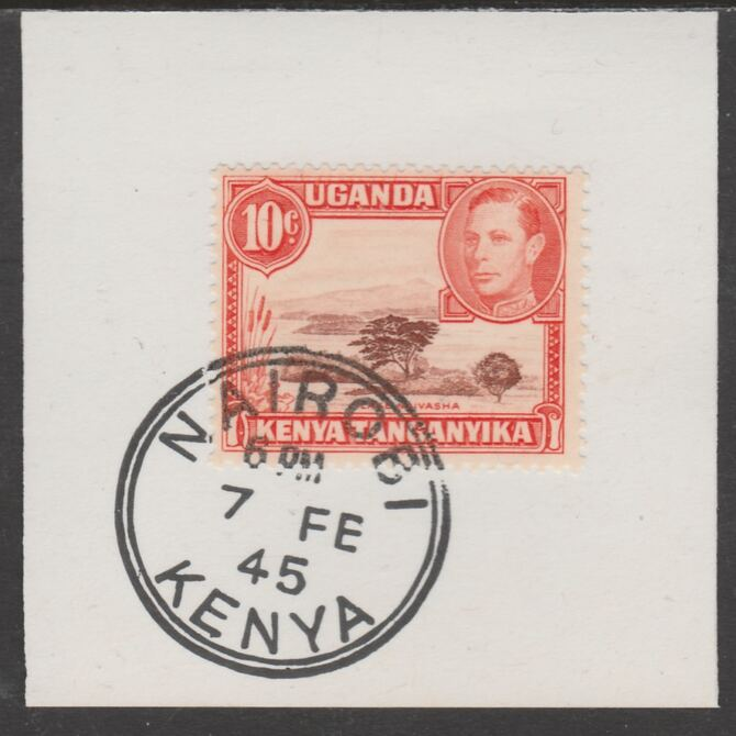 Kenya, Uganda & Tanganyika 1938 KG6 10c  red-brown & orange on piece cancelled with full strike of Madame Joseph forged postmark type 226, stamps on , stamps on  kg6 , stamps on forgeries