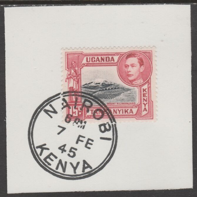 Kenya, Uganda & Tanganyika 1938 KG6 15c  black & red on piece cancelled with full strike of Madame Joseph forged postmark type 226, stamps on , stamps on  kg6 , stamps on forgeries