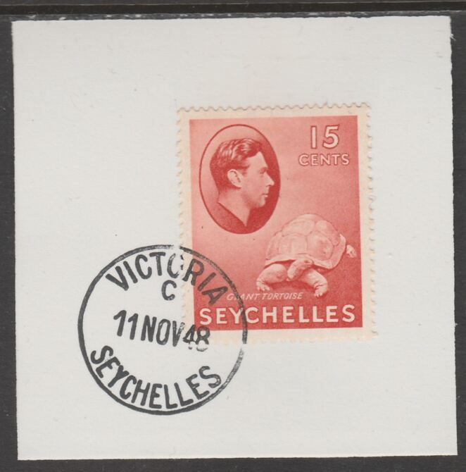 Seychelles 1938 KG6 15c brown-carmine on piece cancelled with full strike of Madame Joseph forged postmark type 389