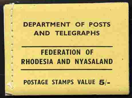 Booklet - Rhodesia & Nyasaland 1955 5s booklet (yellow cover) complete and fine SG SB1