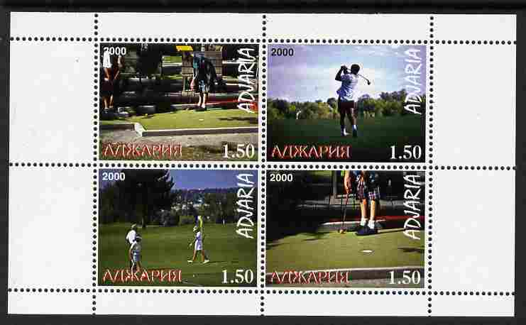 Adjaria 2000 Women's Golf perf sheetlet containing 4 values unmounted mint