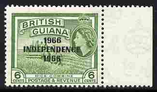 Guyana 1966 Rice Combine 6c with Independence opt (Local opt on Script CA wmk) unmounted mint marginal with