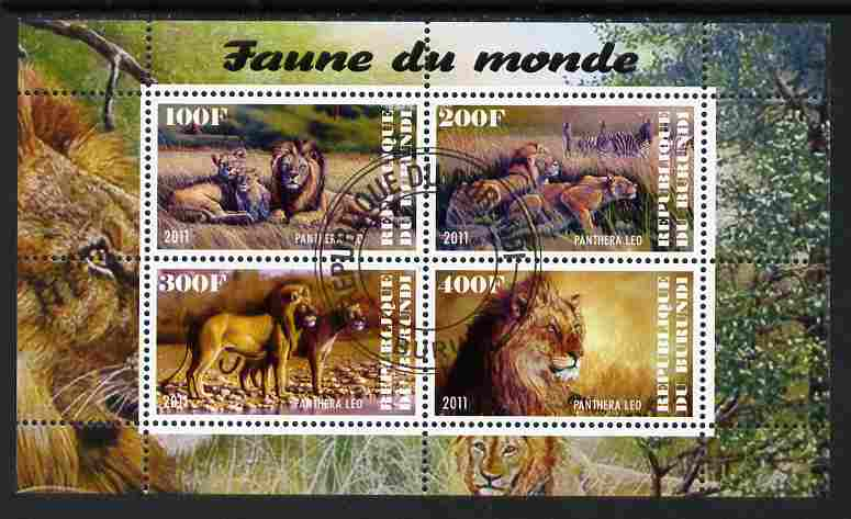 Burundi 2011 Fauna of the World - Lions perf sheetlet containing 4 values fine cto used