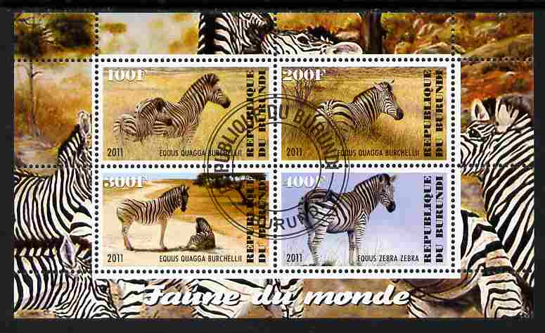 Burundi 2011 Fauna of the World - Zebra perf sheetlet containing 4 values fine cto used