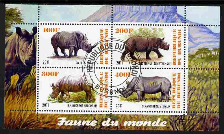 Burundi 2011 Fauna of the World - Rhinoceros perf sheetlet containing 4 values fine cto used