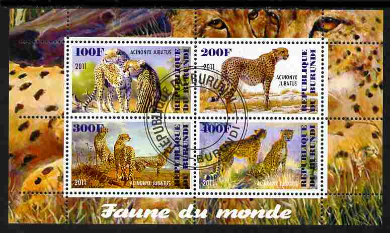Burundi 2011 Fauna of the World - Cheetahs perf sheetlet containing 4 values fine cto used