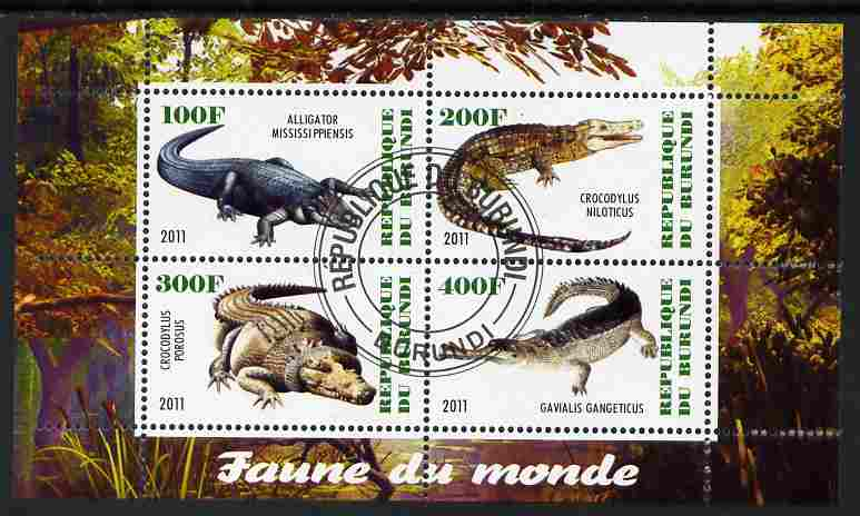 Burundi 2011 Fauna of the World - Crocodles perf sheetlet containing 4 values fine cto used