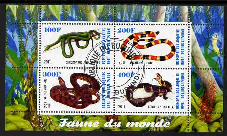 Burundi 2011 Fauna of the World - Reptiles - Snakes #3 perf sheetlet containing 4 values fine cto used
