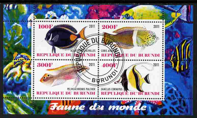 Burundi 2011 Fauna of the World - Fish #3 perf sheetlet containing 4 values fine cto used