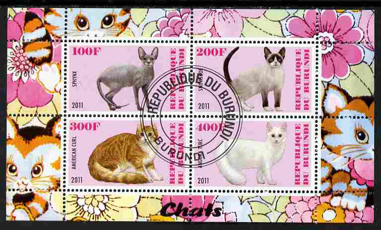 Burundi 2011 Domestic Cats #1 - pink background perf sheetlet containing 4 values fine cto used